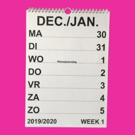 Grootletter weekkalender A4, weekkalender 2020 met grote letters en cijfers