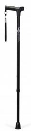 Zwarte wandelstok met zachte handgreep en schokabsorberende dop