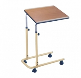 In hoogte verstelbaar bedleestafel met wieltjes en kantelbaar blad