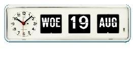 Kalenderklok BQ-38 Wit, kalenderklok die dag en datum weergeeft