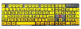 Toetsenbord met grote toetsen, grote letters en cijfers met gele ondergrond