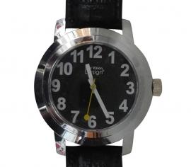 Heren horloge voor slechtzienden met grote witte cijfers en zwarte wijzerplaat - 643026