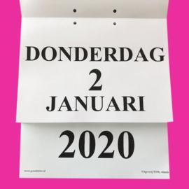 Grootletter dagkalender A4 - 2020, kalender met grote letters en cijfers