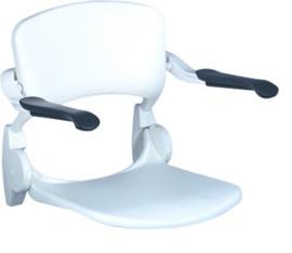 Linido witte opklapbare douchezitting voor aan de muur met armleuningen - 97201649837137