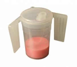 Drinkbeker met deksel en 2 handvatten en 2 tuiten met kleine en grote opening