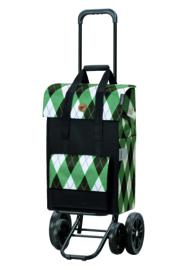 Boodschappenwagen met 4 wielen, ook om te duwen, Quattro Shopper Ine Groen