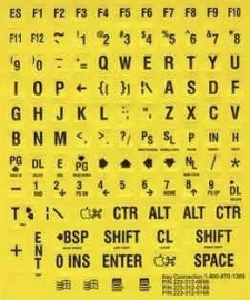 Toetsenbordstickers voor slechtzienden met grote letters en cijfers, zwart op geel (683154)