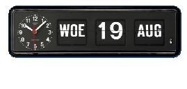 Kalenderklok BQ-38 Zwart, kalenderklok die dag en datum weergeeft