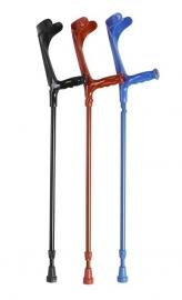 Elleboogkrukken met open manchet rood, blauw of zwart