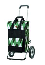 Boodschappenwagen met grote metalen spaken wielen (kan ook achter fiets) Royal Shopper Ine Groen