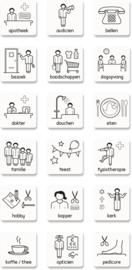 Pictogrammen (stickertjes voor agenda of kalender voor Alzheimer, Dementie, Afasie)