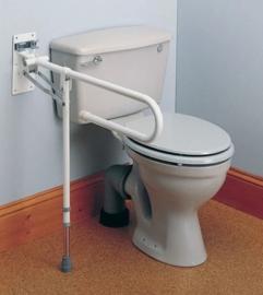 Opklapbare toilet wandbeugel met steunpoot