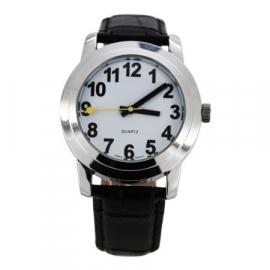 Heren horloge voor slechtzienden met grote cijfers en witte wijzerplaat