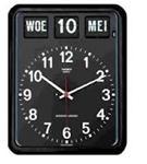 Nederlandse kalenderklok BQ-12A Zwart voor slechtzienden (kalenderklok geeft dag, datum en maand weer) (619051)
