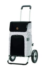 Boodschappenwagen met grote metalen spaken wielen (kan ook achter fiets) Royal Shopper Mara Wit