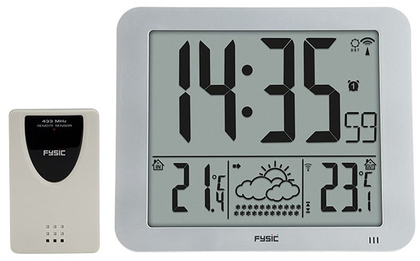 Jumbo klok met weerstation met grote cijfers en letters