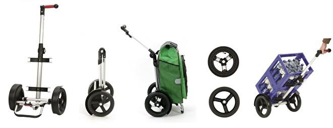 Overzicht functies Tura shopper, boodschappenwagen met extra grote wielen voor achter de fiets