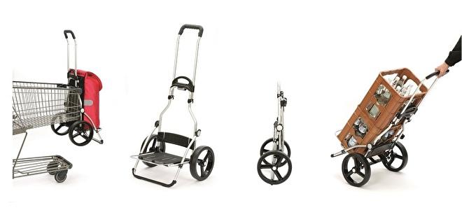 Overzicht functies boodschappenwagen met grote 3-spaken wiel - Royal Shopper