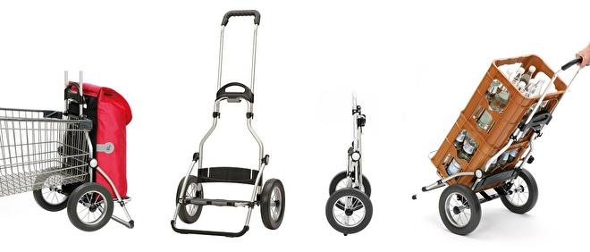 Overzicht functies boodschappenwagen met grote wielen met metalen spaken - Royal Shopper 168