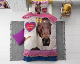 LOVE HORSE PINK katoen