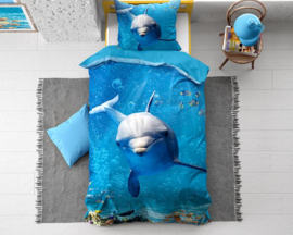 DOLLY DOLPHIN BLUE katoen