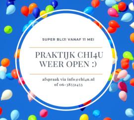 Praktijk Chi4u weer open vanaf 11 mei