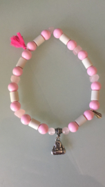 Halsband hond 33 cm met EM kralen, rozenkwarts en boeddha bedel