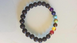 Lava armbandje met chakra kleuren