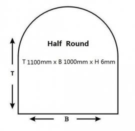 Kachelvloerplaat halfrond 1000 x 1100 x 6 mm  ( € 62,00)