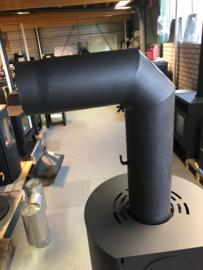 EW150 2mm Bocht 90 graden met smoorklep en luik - zwart