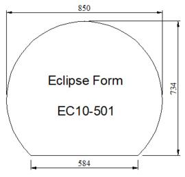 Kachelvloerplat eclipsvormig 850 x 734 x 6 mm