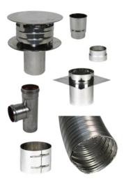 Compleet Flex Dubbelwandig 80 mm - (standaard met pellet T-stuk)