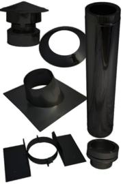 Houtkachel Torino met kanaal voor Schuin bitumen dak - zwart