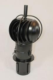 TURBOWENT Draaikap 150mm met draailager buiten de kap en insteekpijp ZWART Gecoat
