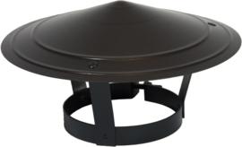 Regenkap gegalvaniseerd Ø 148 - 154mm - zwart gepoedercoat