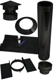 Houtkachel Torino met kanaal voor schuin dak  epdm- zwart