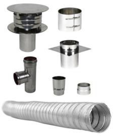 Compleet Flex Enkelwandig 80 mm - (standaard met pellet T-stuk)