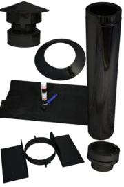 Complete dakdoorvoer houtkachel set 150 mm voor schuin dak kunststof, epdm ZWART
