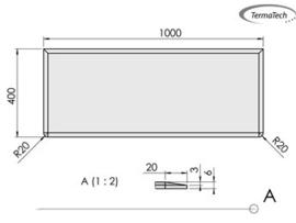 Nr 30-551 6mm Vloerplaat Glas-helder Rechthoek - rechthoek met facet 40 x 100cm