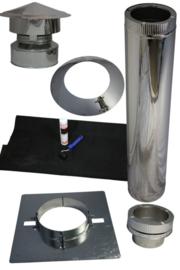 Compleet set dak doorvoer pellet kachel DW80/130mm voor plat dak kunstof, EPDM - rvs