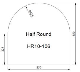 Kachelvloerplaat halfrond 850 x 850 x 6 mm  ( A6-1)