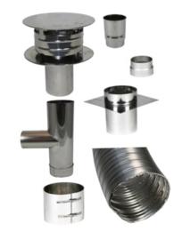 Compleet Flex Dubbelwandig 80 mm (standaard met T-stuk)