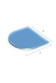 Nr 30-103  6mm Vloerplaat glas helder halfrond met facet 85 x 110cm