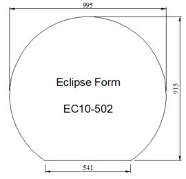 Kachelvloerplaat eclipsvormig 915 x 995 x 6 mm