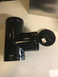 EW150 T-stuk 90 graden met dop - geëmailleerd zwart