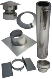 Blokhutknaller: Complete set 200 mm SCHUIN DAK bitumen doorvoer