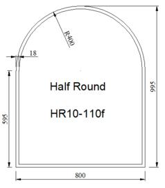 Kachelvloerplaat halfrond met facet 800 x 1000 x 6