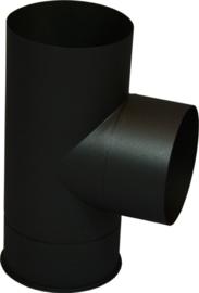 EW150 0,6mm Kachelpijp Tstuk 90° graden met deksel - zwart