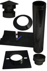 Compelete set dubbelwandige dakdoorvoer 80 mm voor plat dak kuntstof, EPDM - zwart