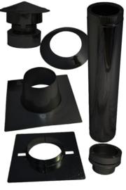 Compelete dakdoorvoer pelletset 80 mm voor plat dak bitumen - zwart